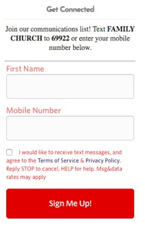 Web form for text subscription